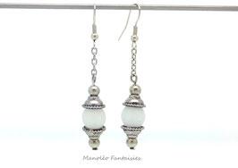 """Boucles d'oreilles """"Perla"""" et sa perle polaris blanche..."""