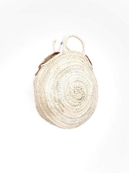 SOFIANE maxi + - sac rond en osier anse en cuir