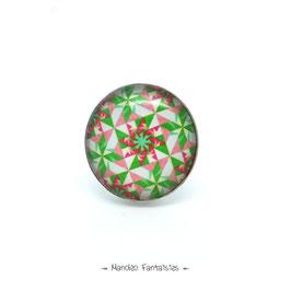 Bague GRAPHIQUE  ORIGAMI cabochon 25 mm  vert rose