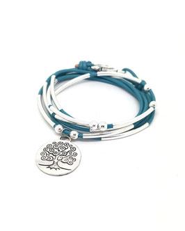 FAMILLE joli turquoise ♥ Bracelet en cuir arbre de vie