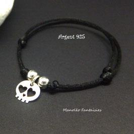 Bracelet médaille SKULL en ♥ ARGENT ♥ et ses perles en argent 925/1000 sur cordon noir..