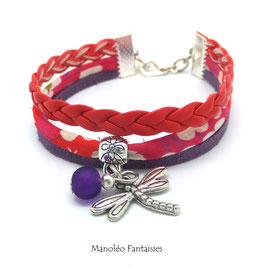 Bracelet liberty PAMPILLE libellule, cuir et suédine dans les tons de rouges et violets...