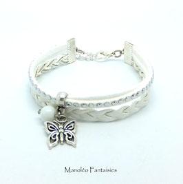 Bracelet mini manchette PAPILLON blanc