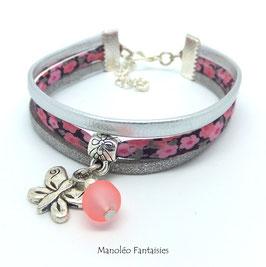 Bracelet liberty PAMPILLE papillon, cuir et suédine dans les tons roses et argentés...