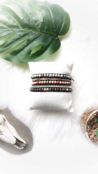 ROMEO- Bracelet wrap 5 tours corail, gris et argenté