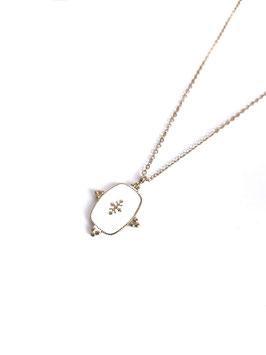 LYZ blanc - collier doré médaille émaillée