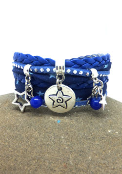 Bracelet médaille ETOILES manchette 2 tours dans les tons bleus et argenté