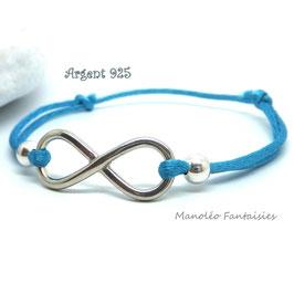 Bracelet INFINI en ARGENT et ses perles sur cordon turquoise...