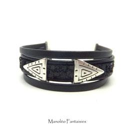 ALANO - Bracelet cuir paillettes noires