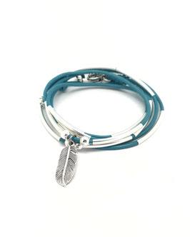 PLUME turquoise ♥ bracelet en cuir