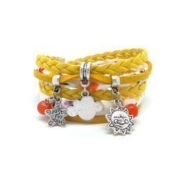 Bracelet NUAGE 2 tours, ses perles et pampilles dans les tons jaune, orange et argenté...