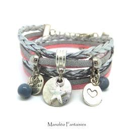 ROMANCE - Bracelet étoiles , deux tours,  gris, argenté et rose