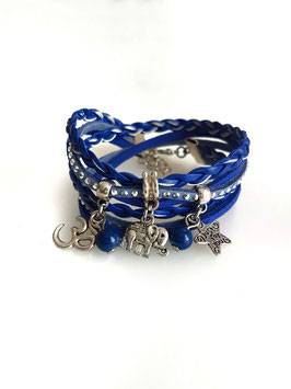 ELEPHANT bleu - Bracelet manchette multitours
