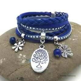 Bracelet ARBRE DE VIE manchette 2 tours, ses perles et breloques, bleu, argent strass