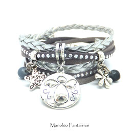 Bracelet manchette 2 tours ANGE, fleur étoile, médaille ange, dans les tons gris et argenté
