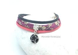 Bracelet 3 liens sequin étoilé anthracite et rose.
