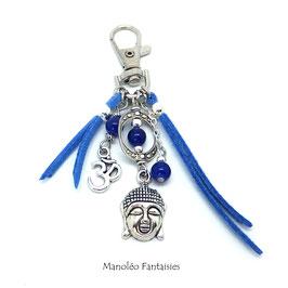Bijou de sac ou porte-clés BOUDDHA dans les tons bleus et argentés