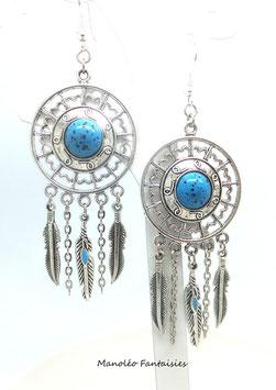 Boucles d'oreilles DREAMCATCHER, plumes, dans les tons argenté et turquoise...