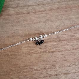 MIO - Bracelet fin noir et argenté