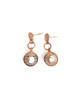 EVA - Boucles d'oreilles rose gold médailles