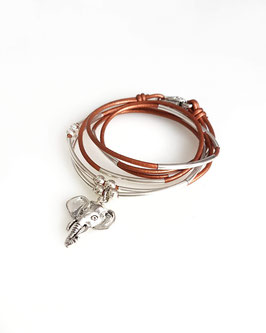 GANA bronze ♥ Bracelet en cuir éléphant