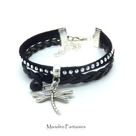 LIBELLULE - Bracelet mini manchette noir