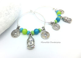Boucles d'oreilles créoles BOUDDHA et ses perles turquoises et anis...