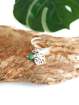 Bague argent MONSTERA perle turquoise