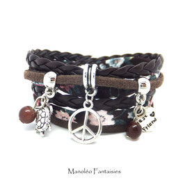 PEACE AND LOVE - bracelet bohème double tour liberty et marron