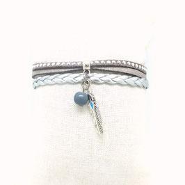 ANOKI - Bracelet plume gris