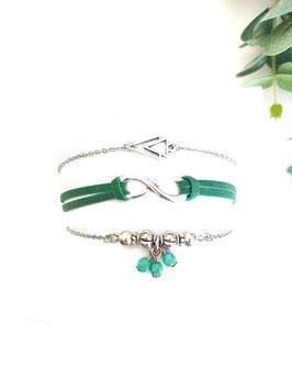 ETHAN vert - trio bracelets fins bohème
