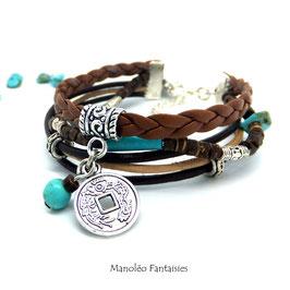 Bracelet BOHEME CHIC et ses perles coco dans les tons marrons, turquoise et argentés...