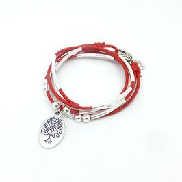 FAMILLE rouge ♥ Bracelet en cuir arbre de vie ovale