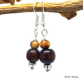 Boucles AMINA perles bois, marron et argenté