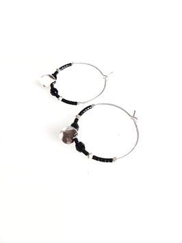 LORYS noir ♥ Créoles argent perles et médaille
