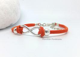 """Incontournable bracelet  """"infini"""" orange et argenté..."""