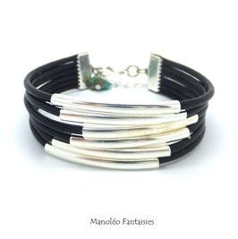 FALCO - Bracelet cuir noir, ses tubes argentés -50%