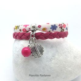 Bracelet mini manchette ENTRETOISE dans les tons roses et argentés...