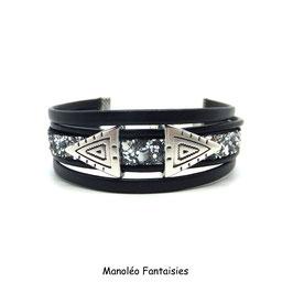 ALANO - Bracelet cuir paillettes argentées -50%