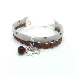 Bracelet manchette étoiles dans les tons marrons...
