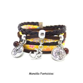 OM - Bracelet yoga pièces chinoises marron et jaune