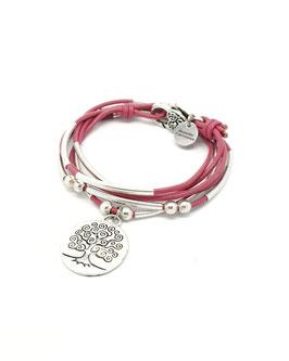 FAMILLE joli rose framboise ♥ Bracelet en cuir arbre de vie