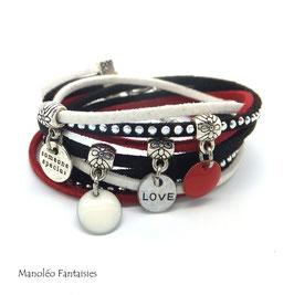 Bracelet LOEVA double tour, 4 liens suédine, dans les tons rouge, blanc, noir et argenté...