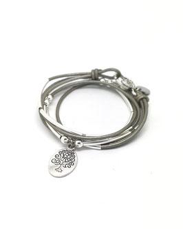 FAMILLE gris ♥ Bracelet en cuir arbre de vie