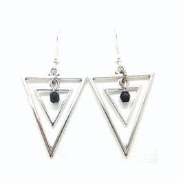 ISIS noir - Boucles d'oreilles triangles argentés