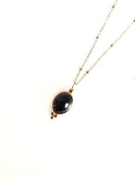 FLO - collier doré pierre noire