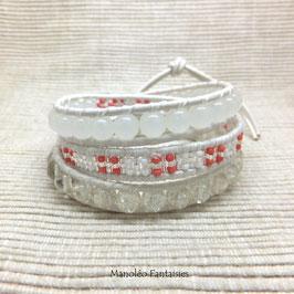 - 15 % Bracelet wrap SAVANAH 3 tours de couleur corail et blanc...