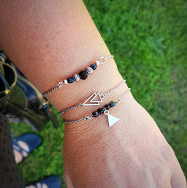OSCAR noir - Trio de bracelets fins triangle