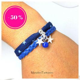 Bracelet mini manchette ETOILES bleu
