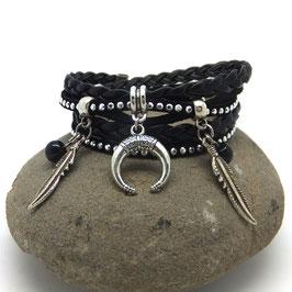 Bracelet LIANG manchette 2 tours, ses perles noires, sa  demi lune et ses plumes, noir et argent